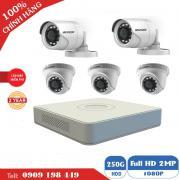 Bộ 5 camera quan sát TVI 2.0 MP Chính Hãng Hikvision